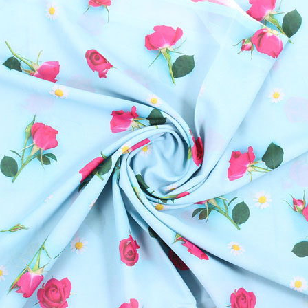 Blue Pink and White Flower Georgette Silk Fabric-15094